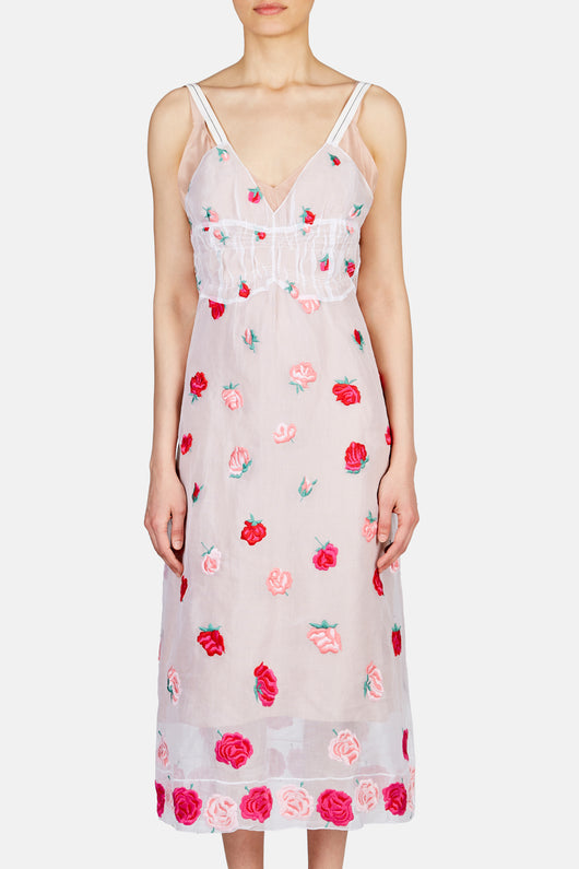 Embroidered Rose Tank Dress - Lacquer