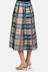 Sheer Plaid Full Skirt - Glass Blue