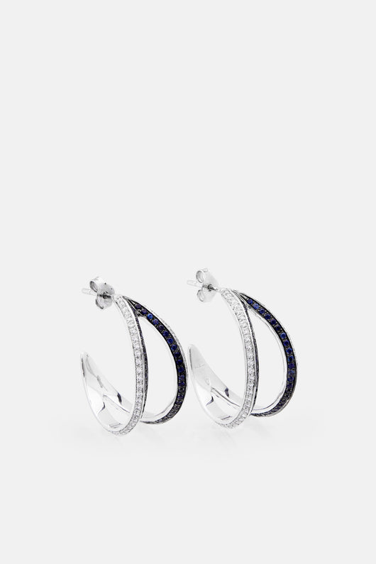 Modernist Double Hoop Earrings - White/Sapphire