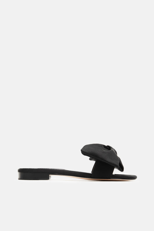 Eva Bow Front Slide - Black