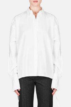 Benson Blouson Back Button Up Shirt - White
