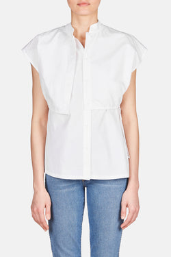 Bay Waisted Overlay Button Up Shirt - White