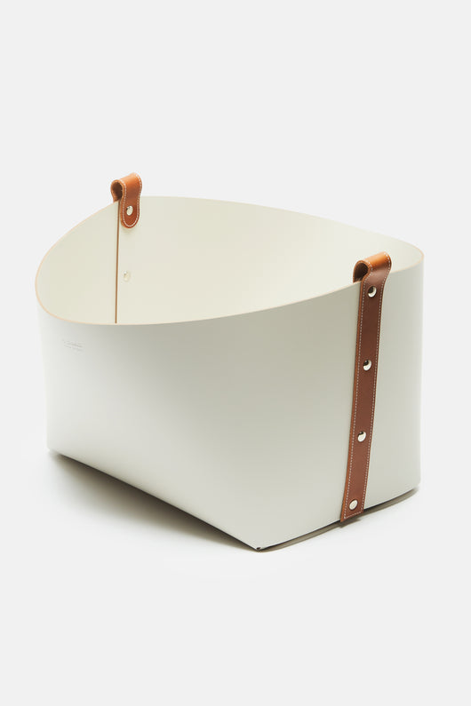 Small Ovo Basket - Cream with Camel Leather Straps