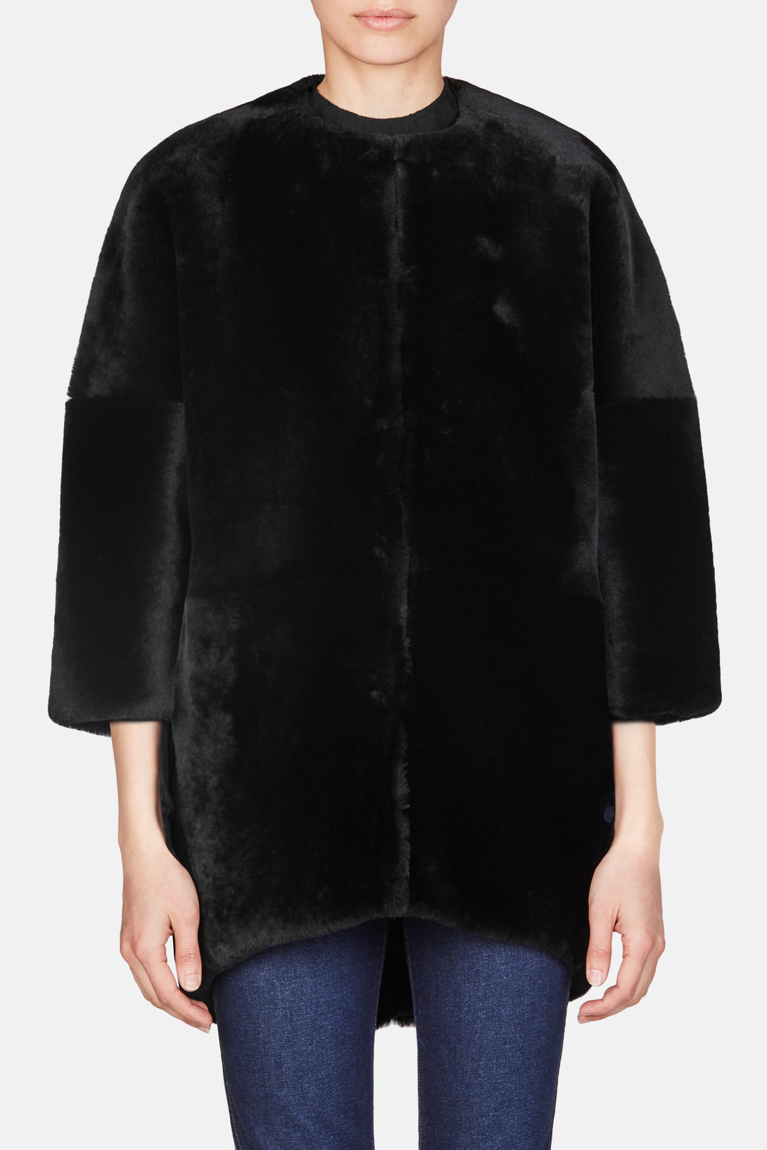 Solid Merino Collarless Coat - Black