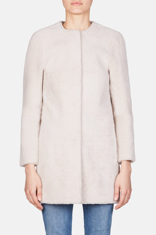 Collarless Cocoon Shearling Coat - Cream