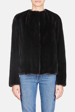 Mink Jacket with Pleating - Black