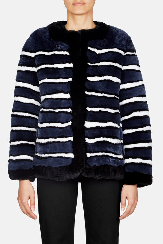 Collarless Cropped Striped Coat - Navy/White/Black