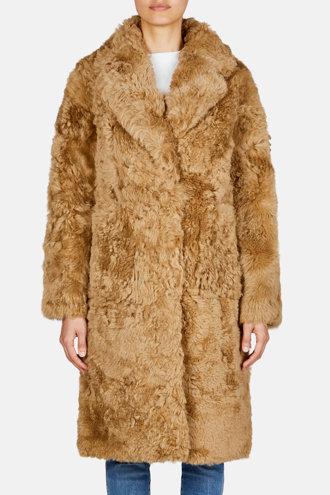 Teddy Collared Cocoon Coat - Camel