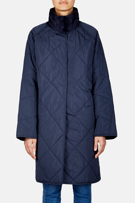 Reversible Oversized Puffer Coat - Navy