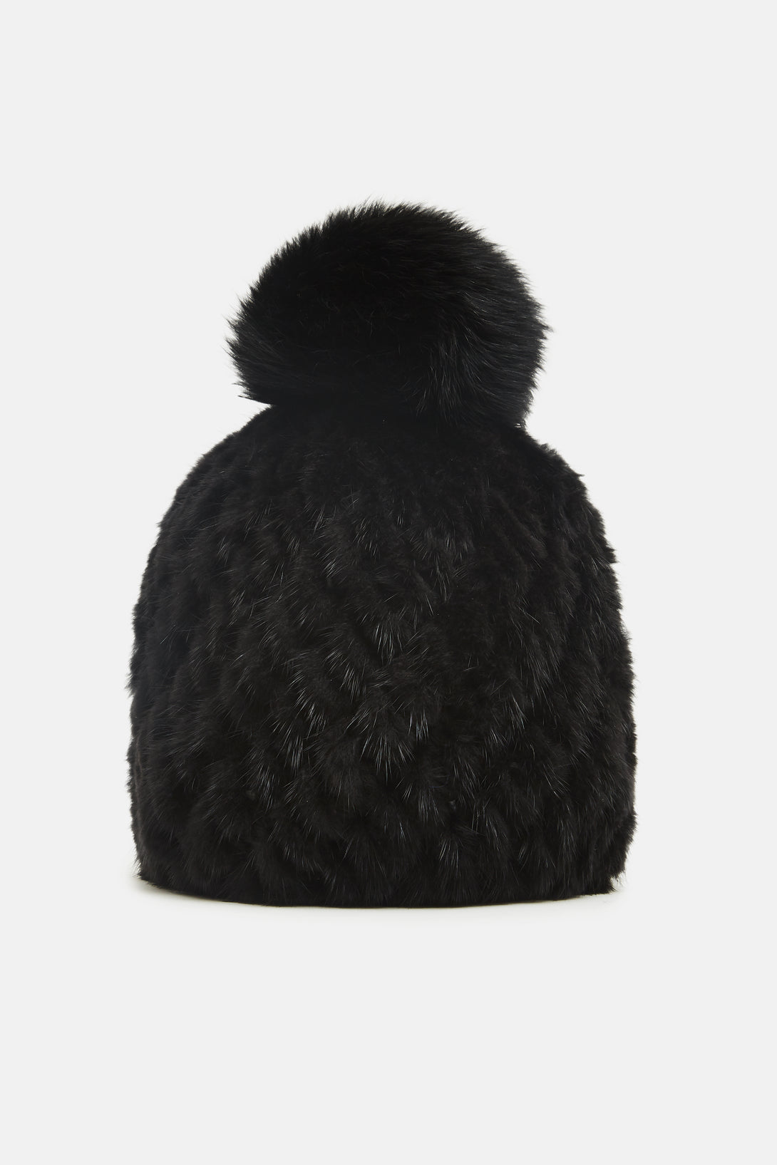 Knitted Mink Beanie - Black