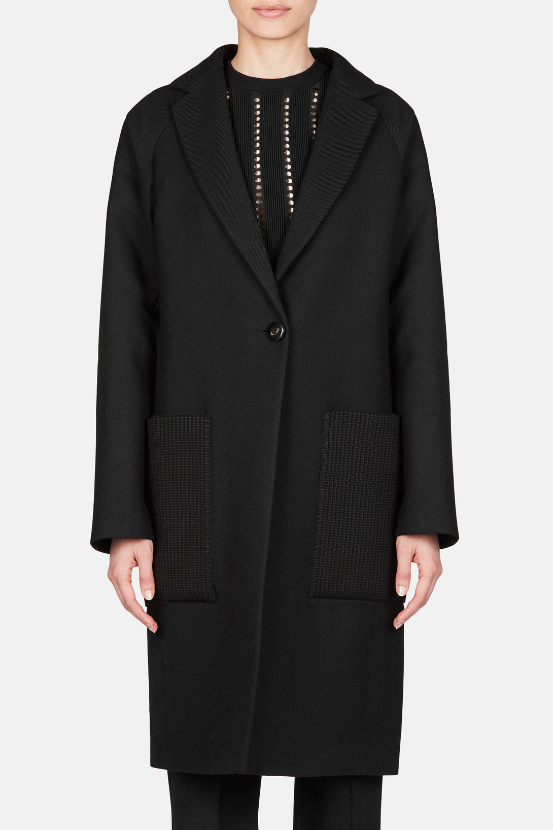 Long Wool Coat - Black