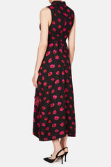 Sleeveless Long Wrap Dress - Black/Electric Pink Print