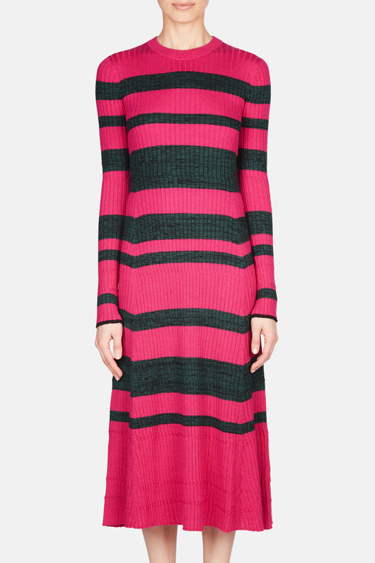 Ultra Fine Ribbed Dress - Electric Pink/Deep Pine Multi