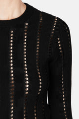 Cropped Ottoman and Pointelle Knit Crewneck - Black