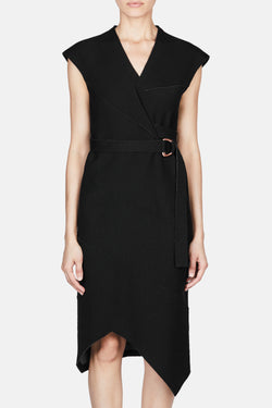 Sleeveless Jersey Suiting Spiral Dress - Black