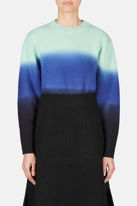 Long Sleeve Wool-Cashmere Pullover - Aqua/Purple/Black