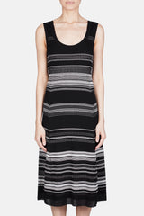 Sleeveless Striped Knit Dress - Black Multi