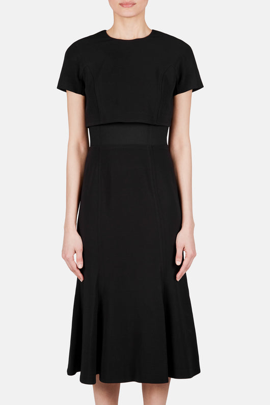 Short Sleeve Overlay Top Dress - Black