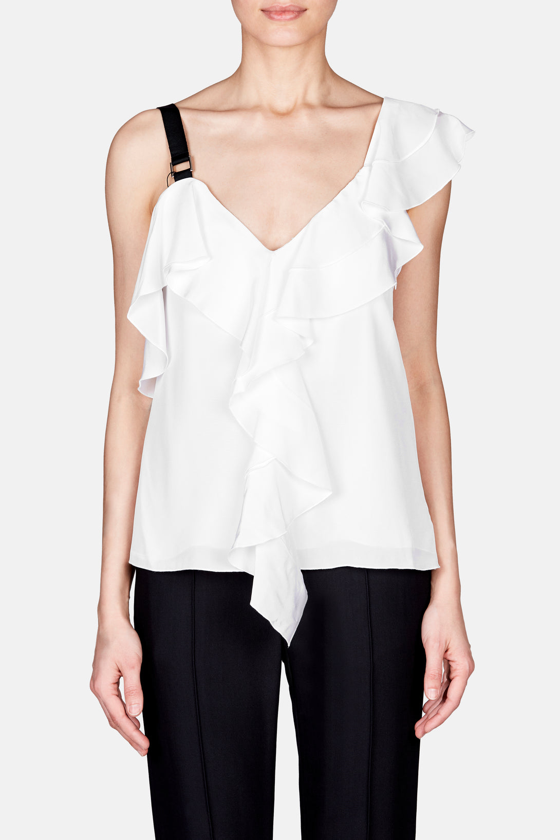 One Shoulder Ruffle Top - White