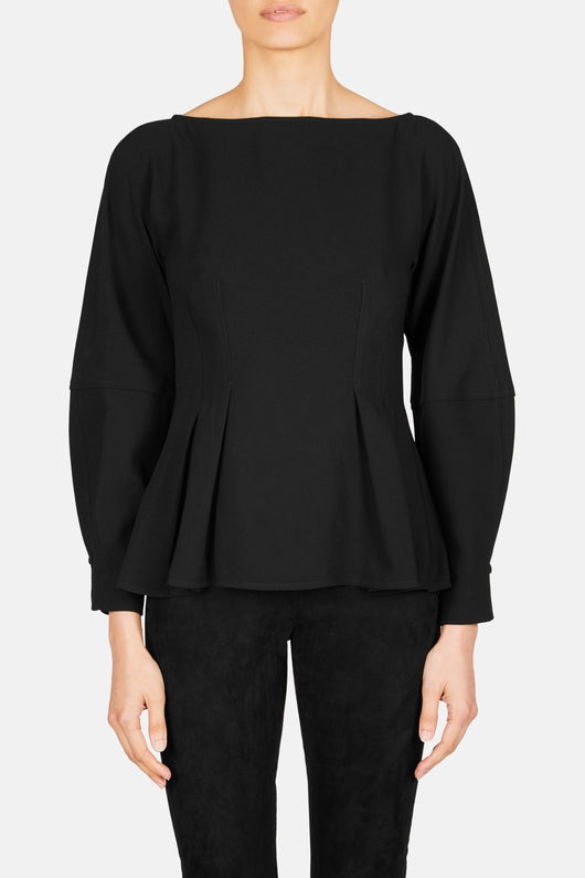 Long Sleeve Pleat Waist Blouse - Black