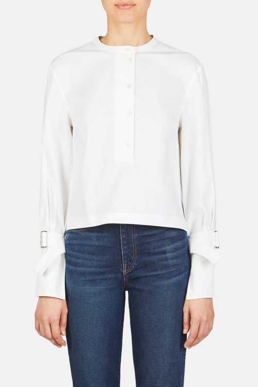 Button Down Cropped Buckle Wrist Shirt - White