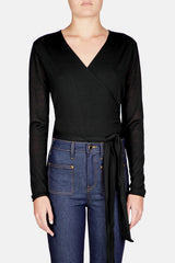 Wrap Waist Long Sleeve Cropped Cardigan - Black