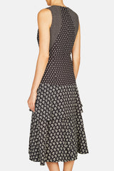 Sleeveless V Neck Printed Dress - Black/Ecru Flower