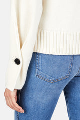 Button Sleeve Crewneck Pullover - Off White