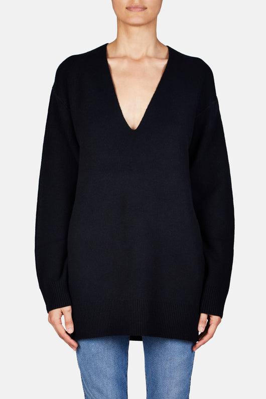 V Neck Long Sleeve Tunic - Black