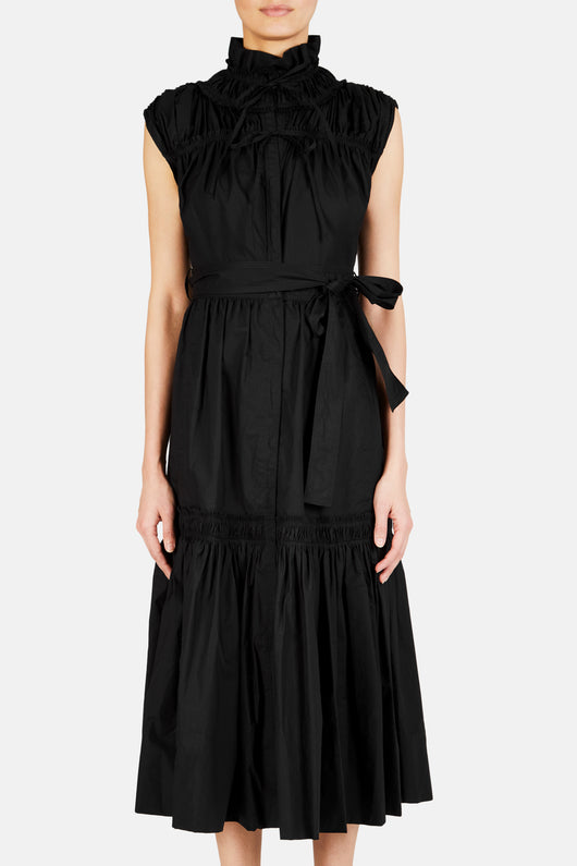 Cotton Poplin Long Dress - Black