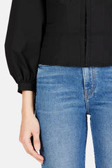 Cotton Puff Sleeve Blouse - Black