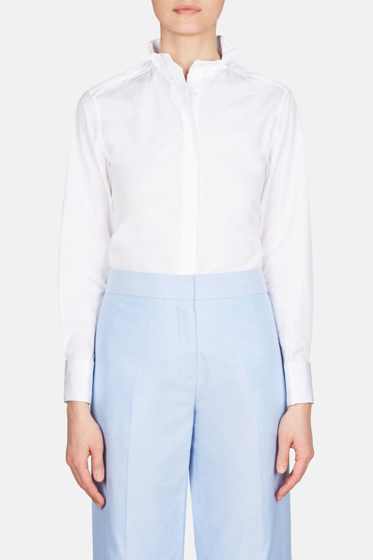 Shirt 61 Pleated Collar Shirt - White