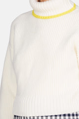 Knit 58 Shaped Rollneck Sweater - Chalk/Dandelion