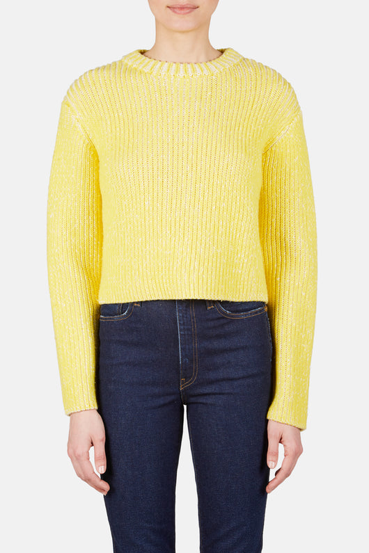 Knit 59 Melange Rib Sweater - Chalk/Dandelion