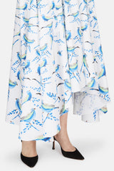 Printed Cotton Long Skirt - Bird Print