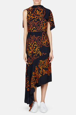 Silk Embroidered Cape Dress - Navy