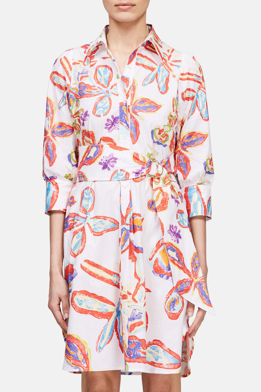 Printed Cotton Shirtdress - White