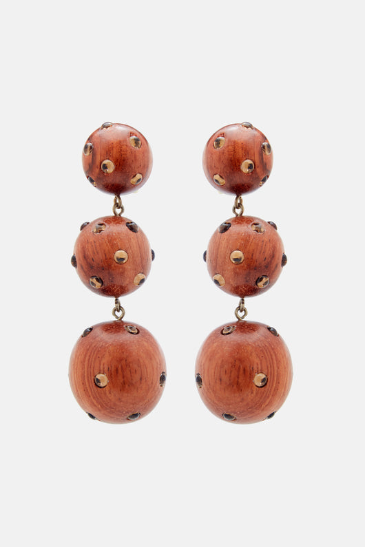 Classic Three Drop Earrings - Natural Wood with Topaz Stones