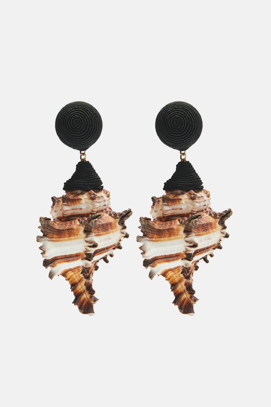 Ophelia Shell Earrings - Black