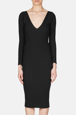 Ribbed Coutoured Dress - Black