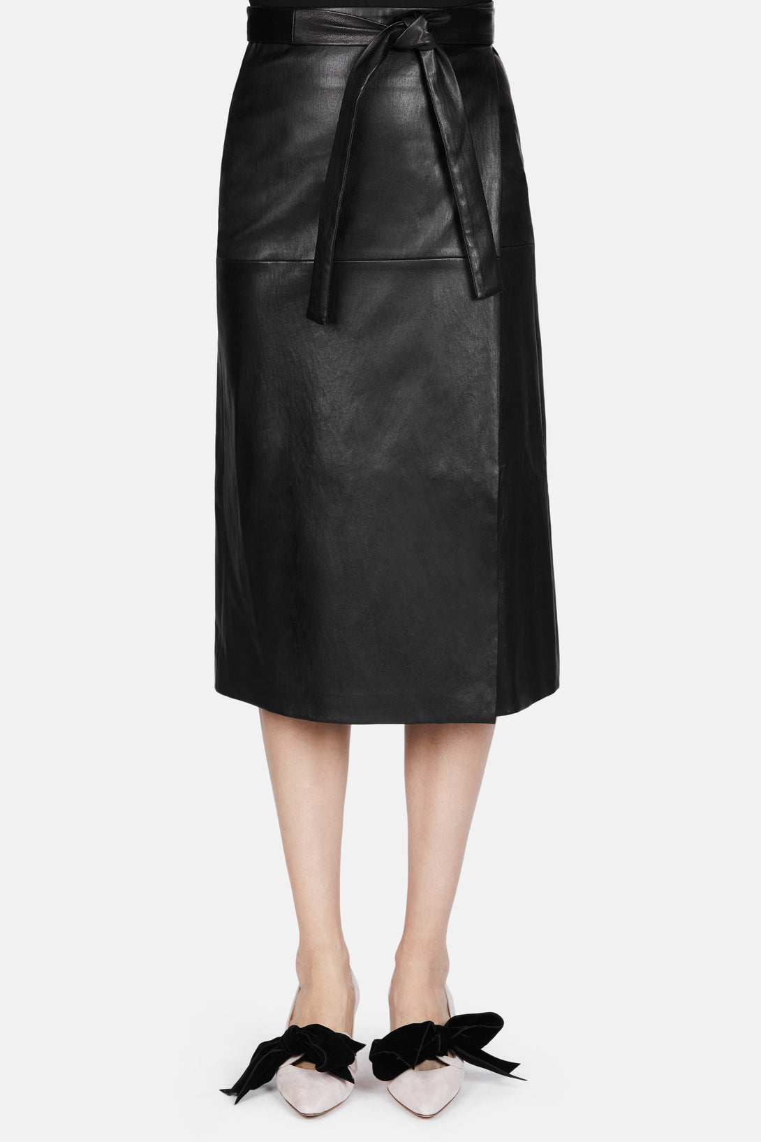 Leather Wrap Skirt - Black