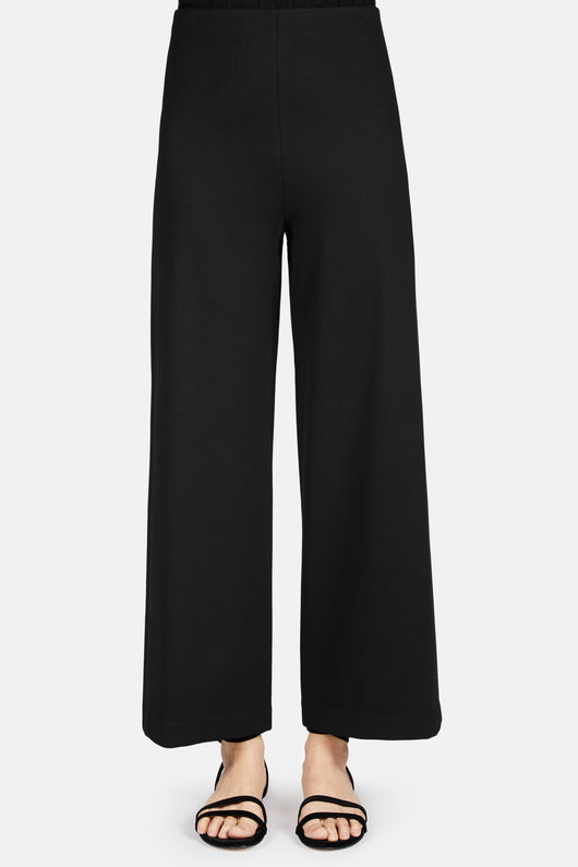 Cropped Straight Trousers - Black