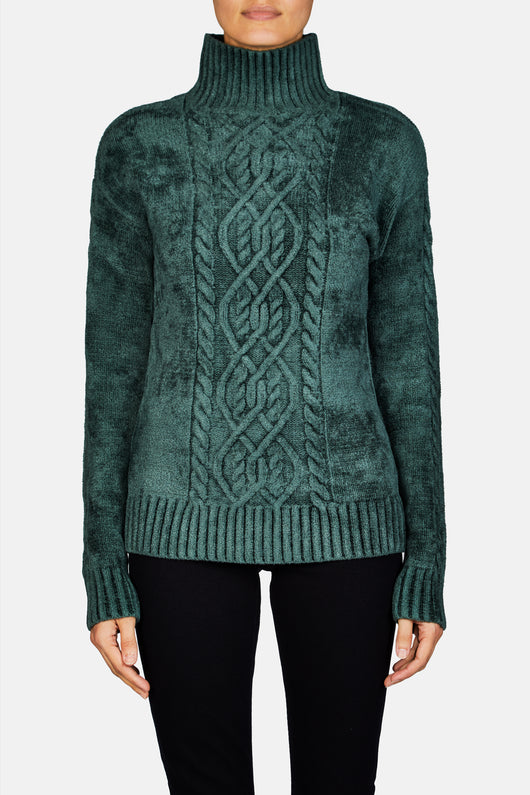 Rory Mockneck Velour Sweater - Seaweed