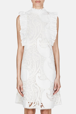 Ruffle Lace Dress - Natural White