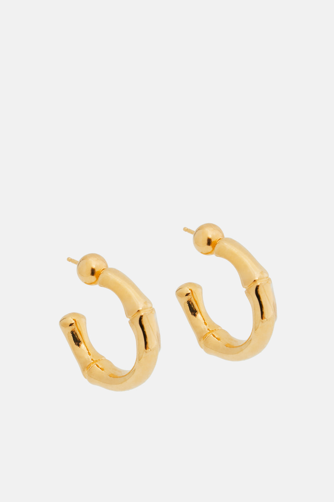 Thick Bamboo Hoops - Gold Vermeil