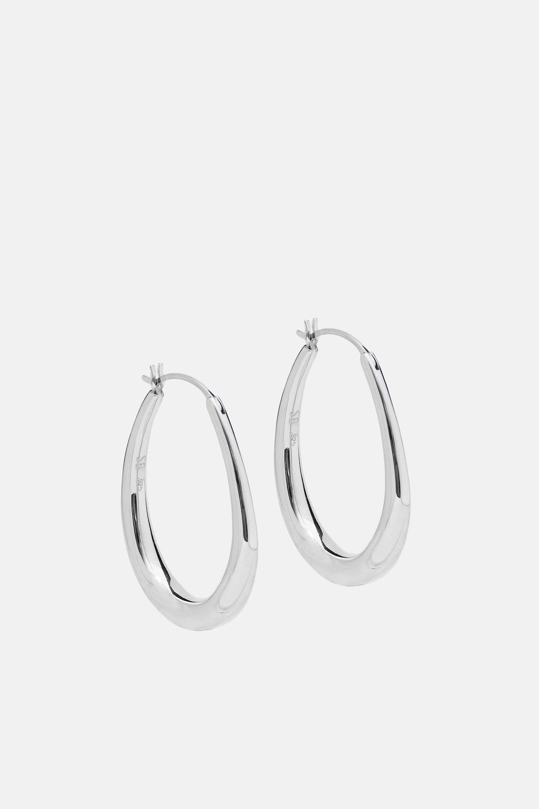 Small Egg Hoop Earrings - Sterling Silver