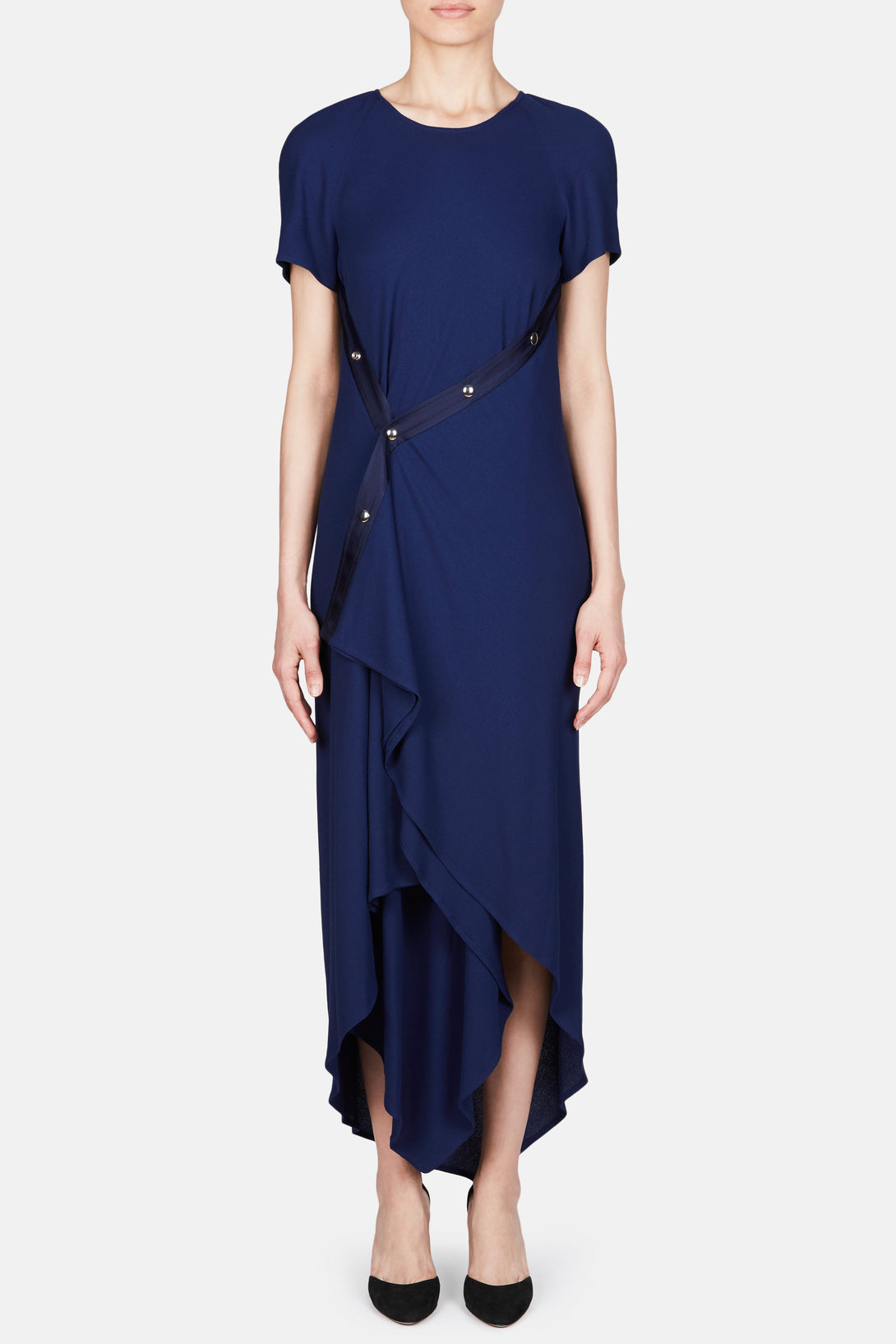 Sophie Snap Front Crepe Dress - Navy