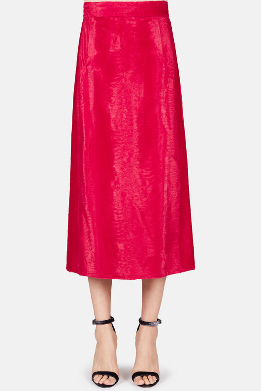 Leonie Faux Fur Midi Skirt - Cherry