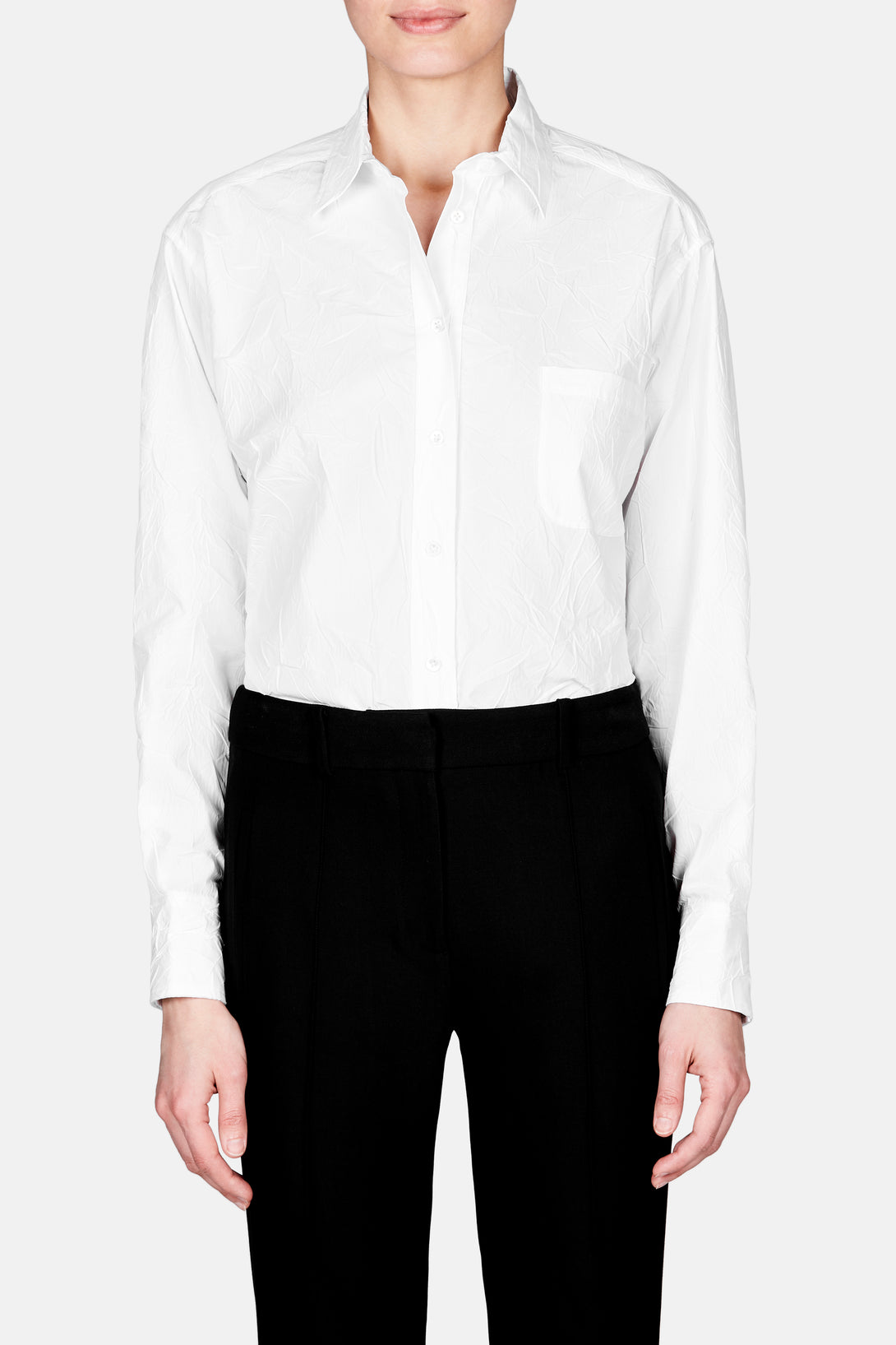 Sander Crinkled Button Down Shirt - White