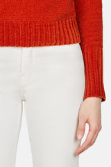 Freddy Velvet Jewel Neck Sweater - Rust
